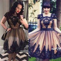 Wholesale Gothic Mini Dresses - Short A Line Homecoming Dresses 2017 Cap Sleeve Square Neckline Black Appliqued Cocktail Party Dress Prom Gowns Gothic