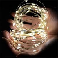 pil ledi ışıkları toptan satış-3 M 30 LEDs AA Pil Işletilen Led Dize Mini LED Bakır Tel Dize Peri Işık Noel Noel Ev Partisi Dekorasyon Işık Sıcak / Saf Beyaz