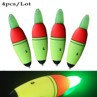 Wholesale Glow Bobber - Wholesale- 4pcs Lot Night Luminous ABS Buoy Sea Fishing Float Electronic Glowing Led Floats Fishing Bobber Light Stick Battery is Included