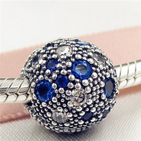 Wholesale Glass Cube Clips - 100% 925 Sterling Silver Cosmic Stars Clip Charm Bead with Blue Cz Fits European Pandora Jewelry Bracelets & Necklaces