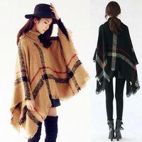 Wholesale New Poncho Fashion - woman big girls classic plaid cloak High collar shawl Poncho fashion Loose plaid Bat shawl Scarves Wraps 2017 New style