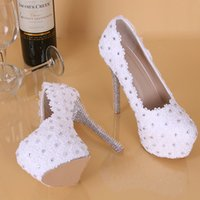 Wholesale White Platforms Heels For Bride - 2017 New White Lace Wedding Shoes For Bride Crystals 11 CM High Heels Rhinestone Platform Pumps Round Toe Bridal Shoes