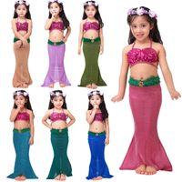 Wholesale Top Newest Girls Tube - Newest Girls Two-Pieces bating Suit Kids Lace-up boob Tube Top Mermaid Biniki Set Girl Beachwear Photography Pros Swimwear