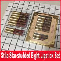 ingrosso lucidi a stella-Stila Star-borchiato Eight Stay All Days Rossetto liquido set 8 pz / scatola Long Lasting Creamy Shimmer Liquid Lipstick Lip Gloss