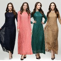 Wholesale Dress Femme - Woman Lace Kaftan Clothing Femme Solid Muslim Vestido Female Long Dresses Islamic Lady Ethnic Maxi Abaya Turkish Kleider Muslim