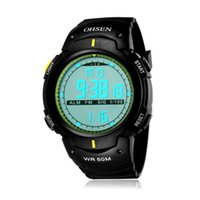 Wholesale Ohsen Military Watch - Brand Men wholesale Digital Watch 2016 Unisex Style OHSEN Sports Military Day Date Watch Calendar Function Alarm relogio masculino