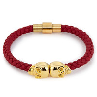 Wholesale Red Leather Braided Bracelet - Beichong Jewelry Hot Selling Fashion Mens Genuine Red Leather Braided Northskull Bracelets Double Skull Bangle for Men Women