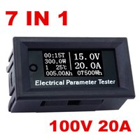 Wholesale multifunction tester - new arrive 7in1 OLED 100v 20A Voltage current electrical meter Time temperature capacity voltmeter Ammeter Multifunction Tester