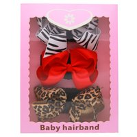 Wholesale Ribbon Leopard Gift - Baby Bow Headbands Set 3pcs with Box Girls Wide Grosgrain Ribbon Bow Hairbands Kids Boutique Leopard Stripe Hair Accessories Gift KHA567