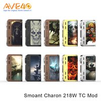 Wholesale Nickel Boxes - Authentic Smoant Charon 218W TC Box Mod New Colors Powered By Dual 18650 Batteries Support Ni200 Nickel VS Smok Alien