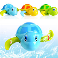 Wholesale Small Wind Up Toys - Wholesale- hot selling Essential Random Color New born babies swim turtle wound-up chain small animal Baby Children bath toy classic toys