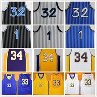 Wholesale Lavender Blue Top - Top Quality 1 Penny Hardaway Jersey 32 Shaquille O'Neal Shaq Uniform 34 Shaquille O Neal College Basketball Jersey Black White Blue