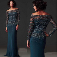 Wholesale Teal Trumpet Dress - Elegant 2017 Dark Teal Chiffon Mermaid Mother Of The Bride Dresses Long Off Shoulder Long Sleeve Beaded Sequins Mother Off The Groom Gown