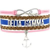 (10 PCS / Lot) Infinity Love Delta Gamma Anchor Charm Bracelete feminino Bronze Pink Blue Suede Leather Custom any Themes
