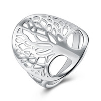 Wholesale Tree Rings For Finger - Fashion Hollow Tree of life Ring Jewelry 925 Silver Ring for women Living life tree trendy finger rings ladies Party gift E738