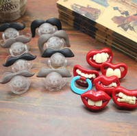Wholesale Teeth Orthodontic - Baby Pacifier Cute Funny Teeth Beard Mustache Baby Pacifier Orthodontic Dummy Infant Nipples Silica gel infant Pacifier