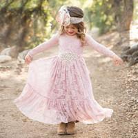 königliche lila blumenmädchenkleider großhandel-Neuer Art-langes Hülsen-Knöchel-Längen-Rosa-Spitze-Prinzessin Dress Blumen-Mädchen-Kleider Multi-Gelegenheit süßer Rock