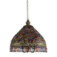 Wholesale nepal beads - Nepal Corridor Pendant Lamp Mediterranean Colorful Acrylic Beads Iron umbrella Hallway Balcony Dining Room Pendant Light