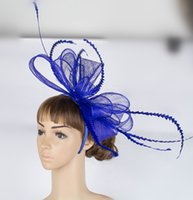 Wholesale Elegant Hats For Wedding - 17 colors elegant big wedding sinamay material fascinator headpiece photographic studio hair accessories race hat suit for all season Q035