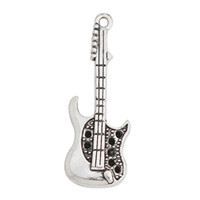 Wholesale Drop Guitar - Online Wholesale Guitar Shape Alloy Charms In Antique Silver Plating For Musician 14*36mm Drop Shipping AAC1302