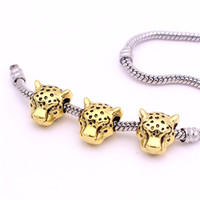 Wholesale Gold Plated Oval Beads - Sweet Bell Min order 20pcs 9*12*12mm Antique Gold Plated Leopard Head Beads Spacer Bead Metal Charms for Jewelry Bracelet DIY Making Z9001