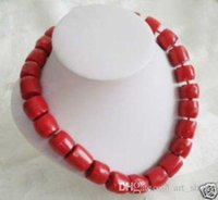 """Wholesale Large Bead Pearl Necklaces - AAAAA Lovely! Tibet Red Coral Silver Necklace large beads 18"""""""