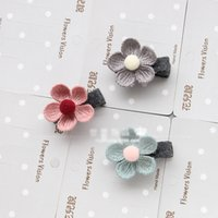 Wholesale Korean Hair Clips Wholesale - Korean boutique Children Hair Accessories knitting wool floral Girls Hair Clips Flower Hairclips kids Hair Flowers Hairbands barrettes A788