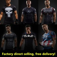 Wholesale Superman T - Captain America 3D T Shirt Men T-Shirt Male Crossfit Tops Print Anime Superhero Superman tshirt Men Fitness Compression Shirt