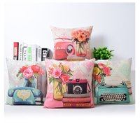 Wholesale pink flower pillow case - Radio Camera Cushion Cover Flower Pillow Cover Pink and Blue Color 4 Styles Thin Linen Pillow Cases 45X45cm Bedroom Sofa Decoration