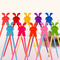 Wholesale Rabbit Temperature - Cartoon Rabbit Silicone Chopsticks Colorful Chopstick Helper Baby Early Learning Tableware High Temperature Resistance 2 2qha R