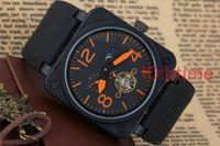 hohle uhren selbstaufzug großhandel-Luxus New Mens Edelstahl Schwarz Rubber Bell PVD BR Automatische Mechanische Selbstaufzug Uhren Skeleton Durchbohrte Hohle Tourbillon Uhr