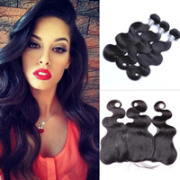 Wholesale hair weave heads online - Brazilian Body Wave Human Hair Wefts with x4 Lace Frontal Ear to Ear Full Head Natural Color Can be Dyed Human Hair Wefts