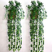 Wholesale Delicate Leaf - Wholesale- Home Decor 2.5m Delicate Artificial Ivy Leaf Garland Plants Vine Fake Foliage Flowers Beatiful Party Wedding Supplies