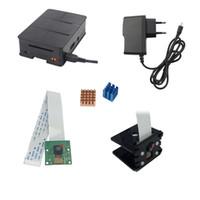 soporte b al por mayor-Freeshipping Raspberry Pi 3 Cámara 5MP + RPI Soporte de cámara + Estuche de ABS + Disipador de calor + 5V 2.5A Adaptador de cargador de energía para Raspberry Pi 3 Modelo B