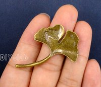 40pcs-Antique Prata / Bronze Ginkgo Leaf Copper Tree Leaf Branch encantos Pendant Charm Handmade Pendant Lovely Connector DIY Jewelry Making