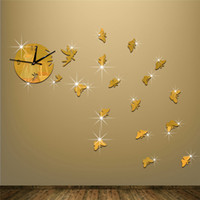 Wholesale Diy 3d Fairy Wall Stickers - Acrylic 3D mirror wall stickers clock Creative Home Decor DIY cartoon Little fairy Carved bedroom Removable Decorate Sticker 2017 wholesale