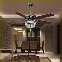 Ventiladores de techo Luxury Crystal Light Lamp con control remoto 42-inch 220V 110V Modern Ceiling Fans Lights con Antique Wood Blade