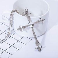 Wholesale New Diamond Jewellery - Retro fashion jewellery punk Diamond cross pendant necklace 2017 new free shipping for women and men