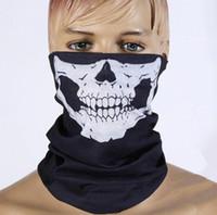 a máscara projeta a cor venda por atacado-DHL Frete grátis 500 pcs Crânio Design Multi Função Bandana Esporte Esqui Motociclista Cachecol Máscaras Faciais Máscara Facial Ao Ar Livre Cor Preta