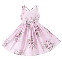Wholesale Wholesale Girls Size Sundresses - 2017 Australia Style Girl Summer Dress Large size Backless Floral Wave Cotton Holiday Sundress Children Clothing 7-12Y H1701