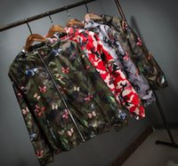 Wholesale Summer Hooded Suit - 2017 new Mens Summer Camo Windbreaker Jacket Fashion camouflage Hooded Butterfly coats Thin Male Hip Hop Sport Suit Parkas