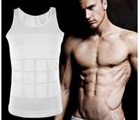 iç çamaşırı vücut geliştirme toptan satış-Erkek Zayıflama Vücut Şekillendirici Göbek Yağ Iç Çamaşırı Yelek Gömlek Korse Sıkıştırma Vücut Geliştirme Iç Çamaşırı