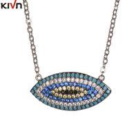 Wholesale Turkish Evil Eye Necklaces - KIVN Fashion Jewelry Turkish Blue Evil eye Cubic Zirconia Womens Girls Wedding Bridal Pendant Necklaces Mothers Birthday Gifts