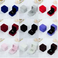 ingrosso scatole da regalo per gioielli-Piazza anello del velluto scatola al minuto (8 colori disponibili) Matrimonio Holder Gioielleria anello dell'orecchino Storage Box regalo contenitore di imballaggio per monili