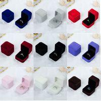 Wholesale Velvet Earring Holders - Square Velvet Ring Retail Box (8 Colors Available) Wedding Jewellery Earring Ring Holder Storage Box Gift Packing Box For Jewelry
