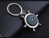 Wholesale Vintage Nautical Compass - Vintage Silver Charms Alloy Nautical Helm Compass Keychain For Keys Car Bag Key Ring Handbag Gift Couple Key Chains Accessories 10pcs N1602