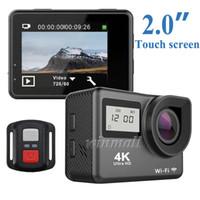 ingrosso dv telecamera remota-Touch screen da 2 pollici + schermo di stato da 0,96 pollici H9T 4K Action Camera 2.4G Telecomando Wifi impermeabile Sport Cam DV