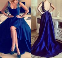 Wholesale Sexy Dress Low Back - Blue Appliques Sexy High Low Open Back Straps Prom Party Dresses 2017 Long Vintage Evening Celebrity Red Carpet Gowns