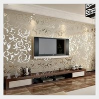 Wholesale modern italian living rooms - Wholesale- Italian Style Modern 3D Embossed Background Wallpaper For Living Room Silver And Gray Striped Wallpaper Roll Desktop Wallpaper