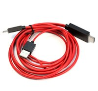 Wholesale Mhl Hdmi 2m - New 2M MHL Micro USB Adapter HDTV HDMI Cable for Samsung Galaxy S4 i9500 S3 SIII i9300 Note 2 N7100 Red Free Shipping 100ps lot